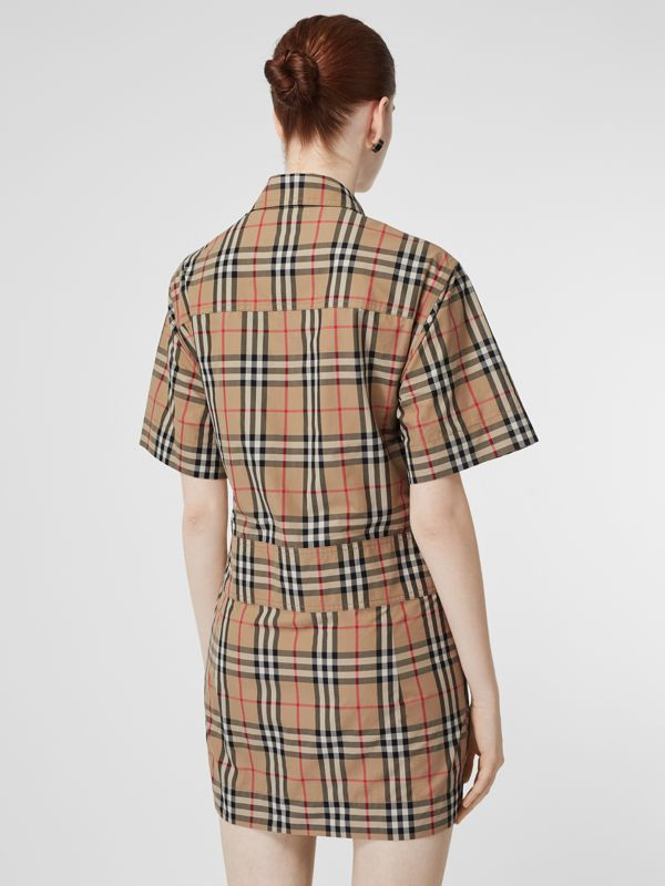 Short-sleeve Vintage Check Shirt Dress in Archive Beige - Women | Burberry - cell image 2