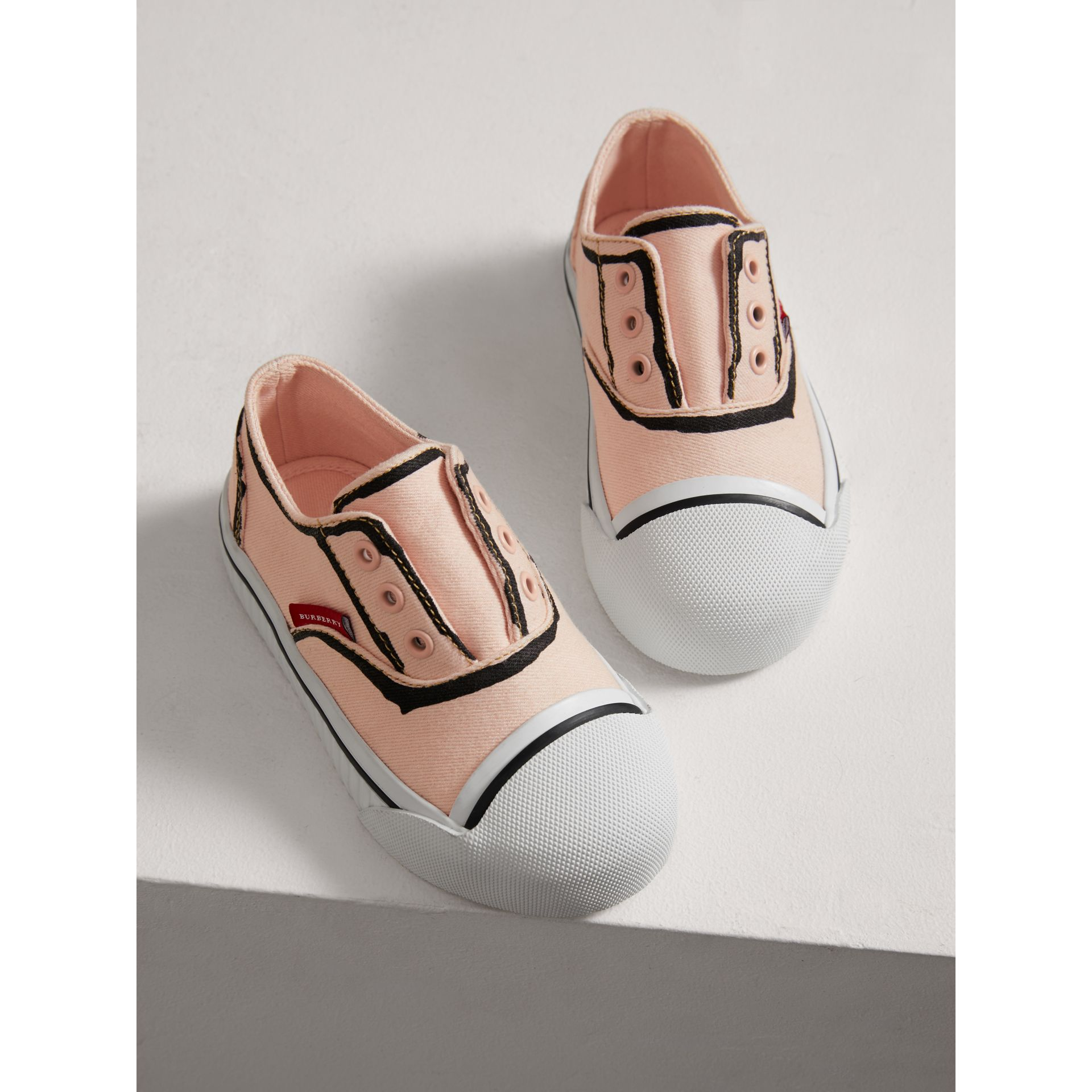 Scribble Print Slip-on Sneakers in Pale Rose Pink | Burberry United Kingdom - gallery image 3