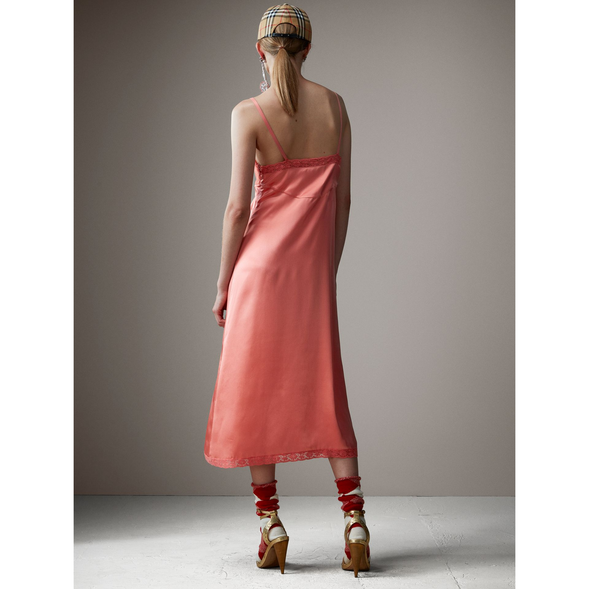 Chantilly Lace Trim Silk Slip Dress in Coral Red - Women | Burberry - gallery image 3