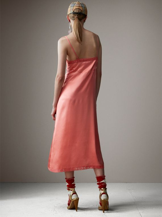 Chantilly Lace Trim Silk Slip Dress in Coral Red - Women | Burberry - cell image 2