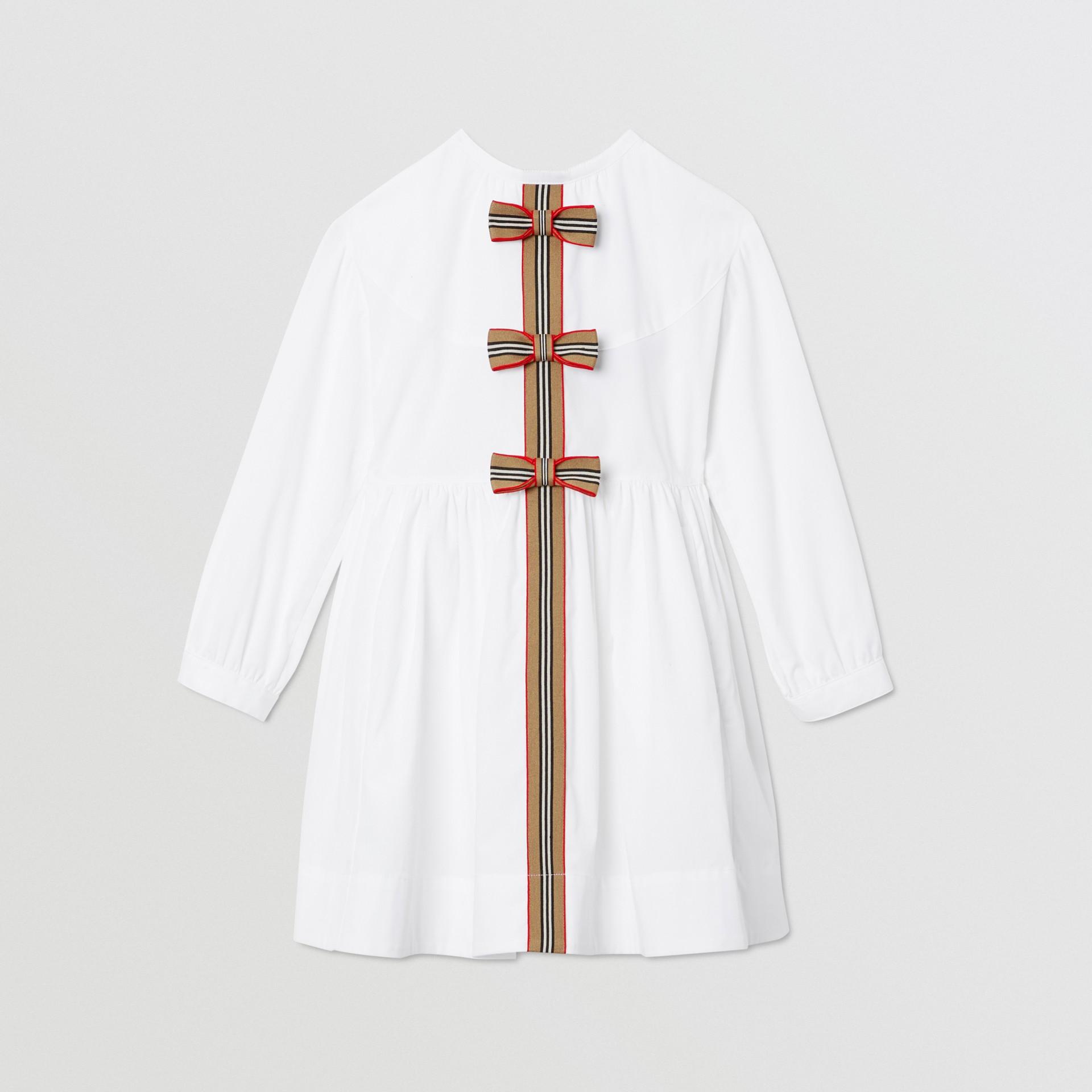 Icon Stripe Trim Stretch Cotton Poplin Dress in White | Burberry United Kingdom - gallery image 0