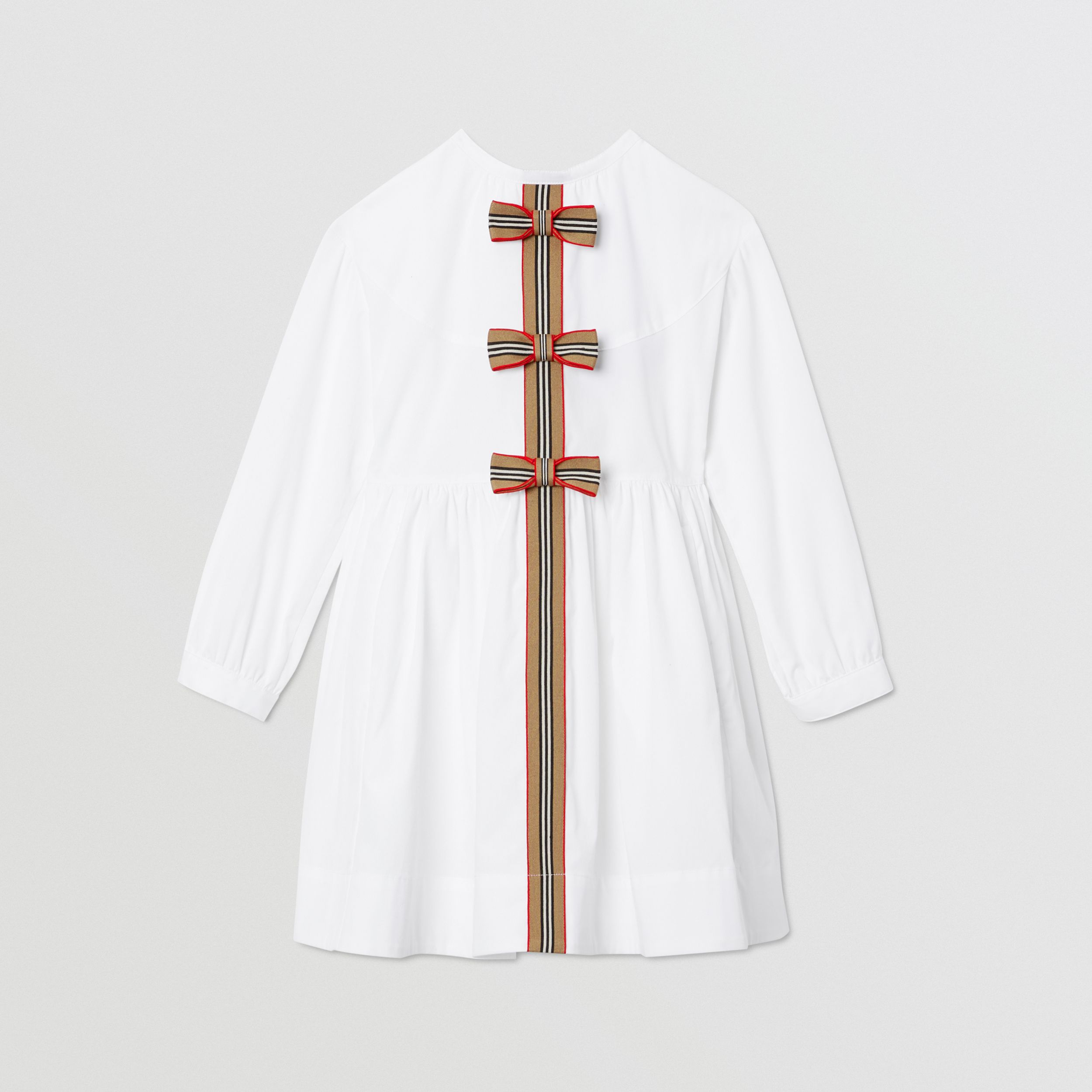 Icon Stripe Trim Stretch Cotton Poplin Dress in White | Burberry Australia - 1