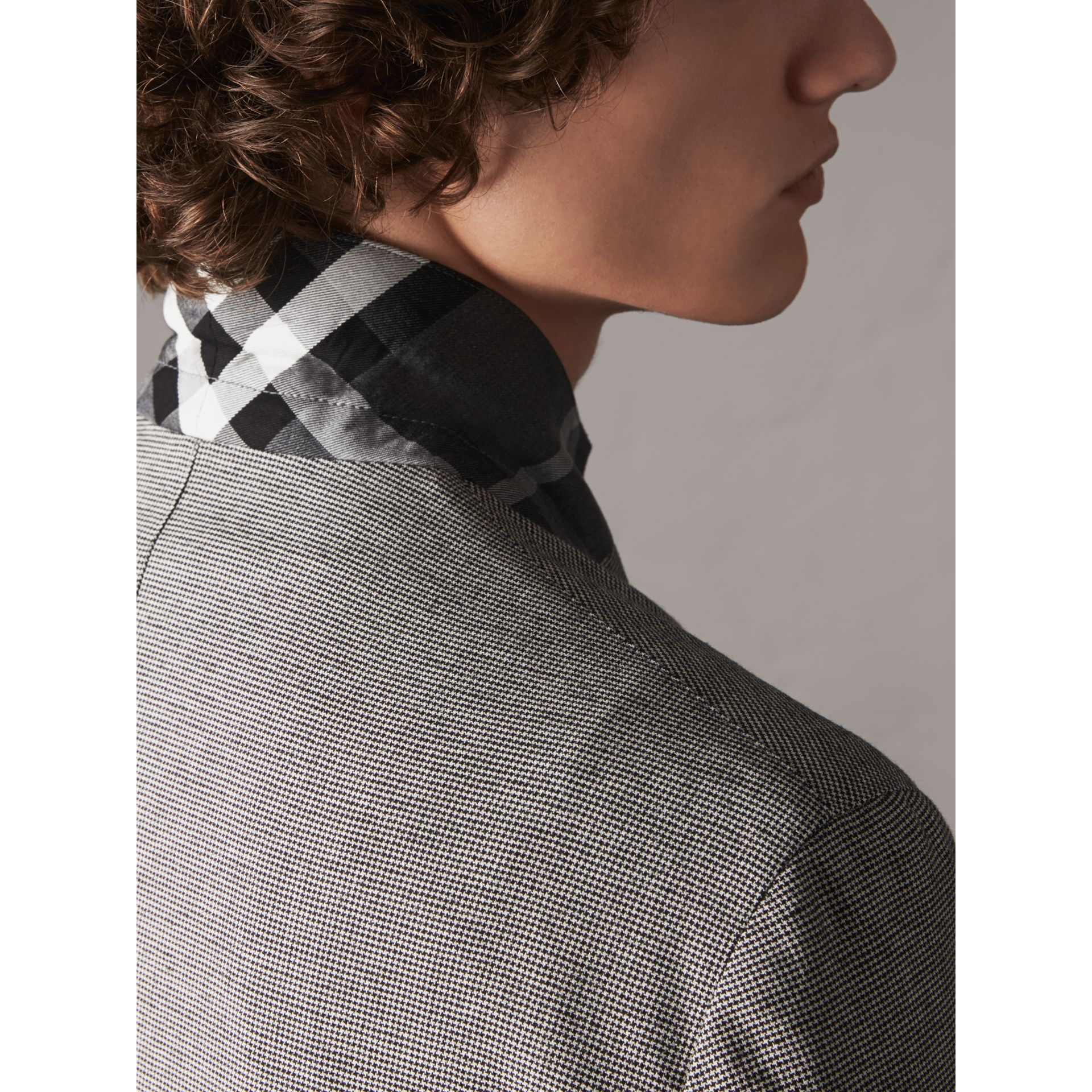 Micro Houndstooth Cotton Wool Blend Blazer in Charcoal - Men | Burberry Australia - gallery image 6