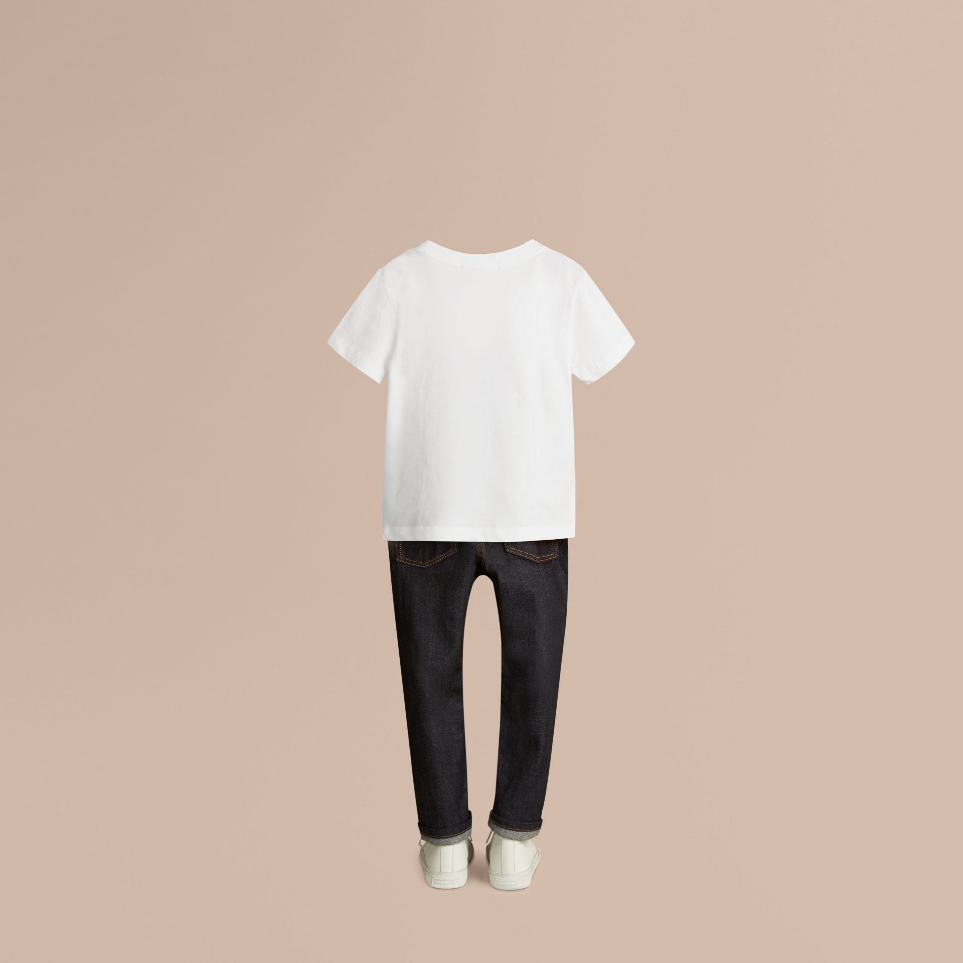 White Crew Neck Cotton T-shirt - gallery image 3