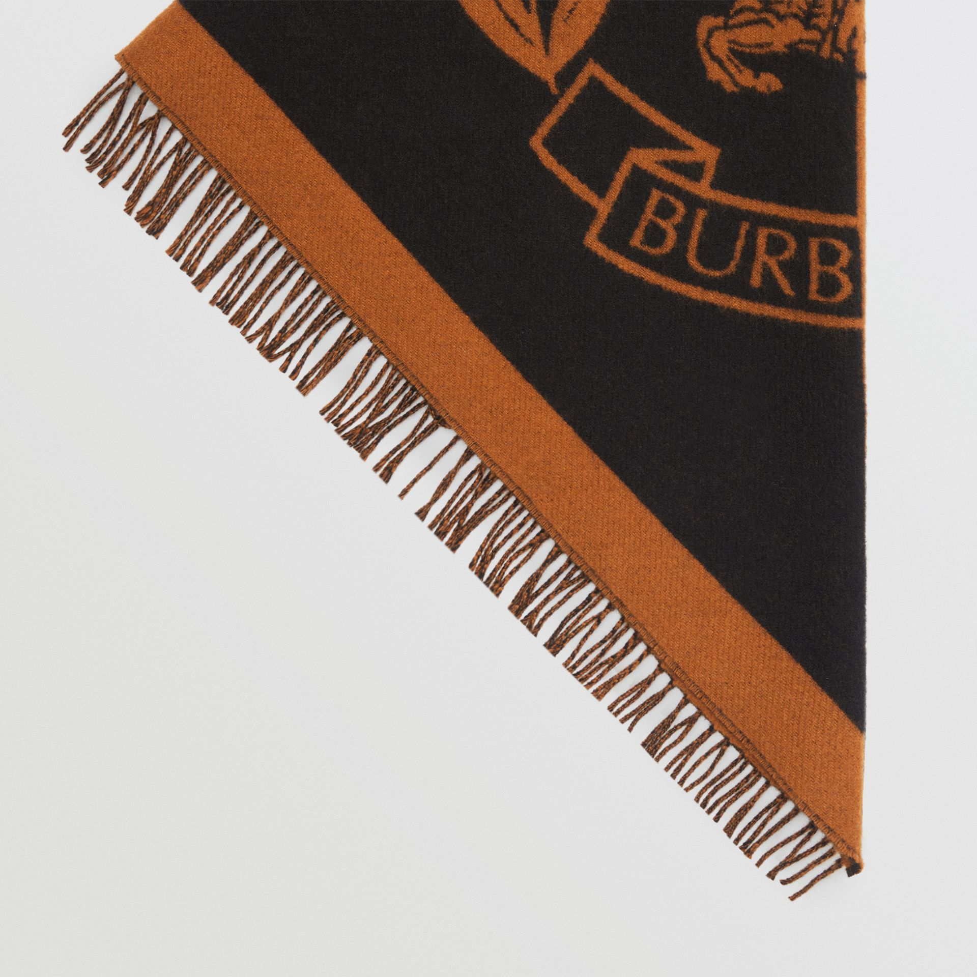The Burberry Bandana in Crest Detail Wool Cashmere in Toffee | Burberry United Kingdom - gallery image 4