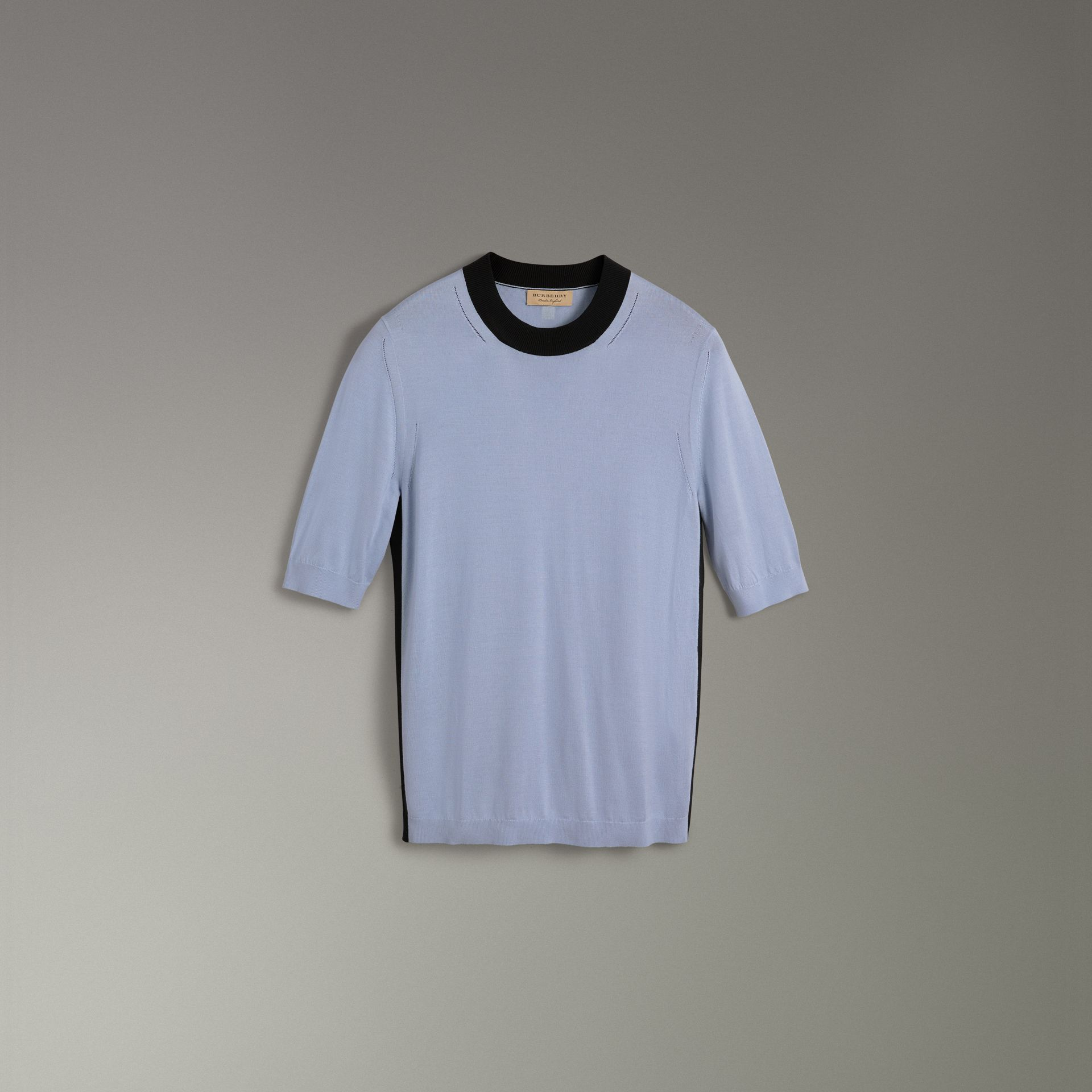 Silk Cashmere T-shirt in Sky Blue - Women | Burberry - gallery image 3