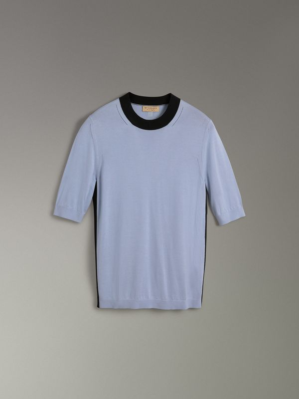 Silk Cashmere T-shirt in Sky Blue - Women | Burberry - cell image 3
