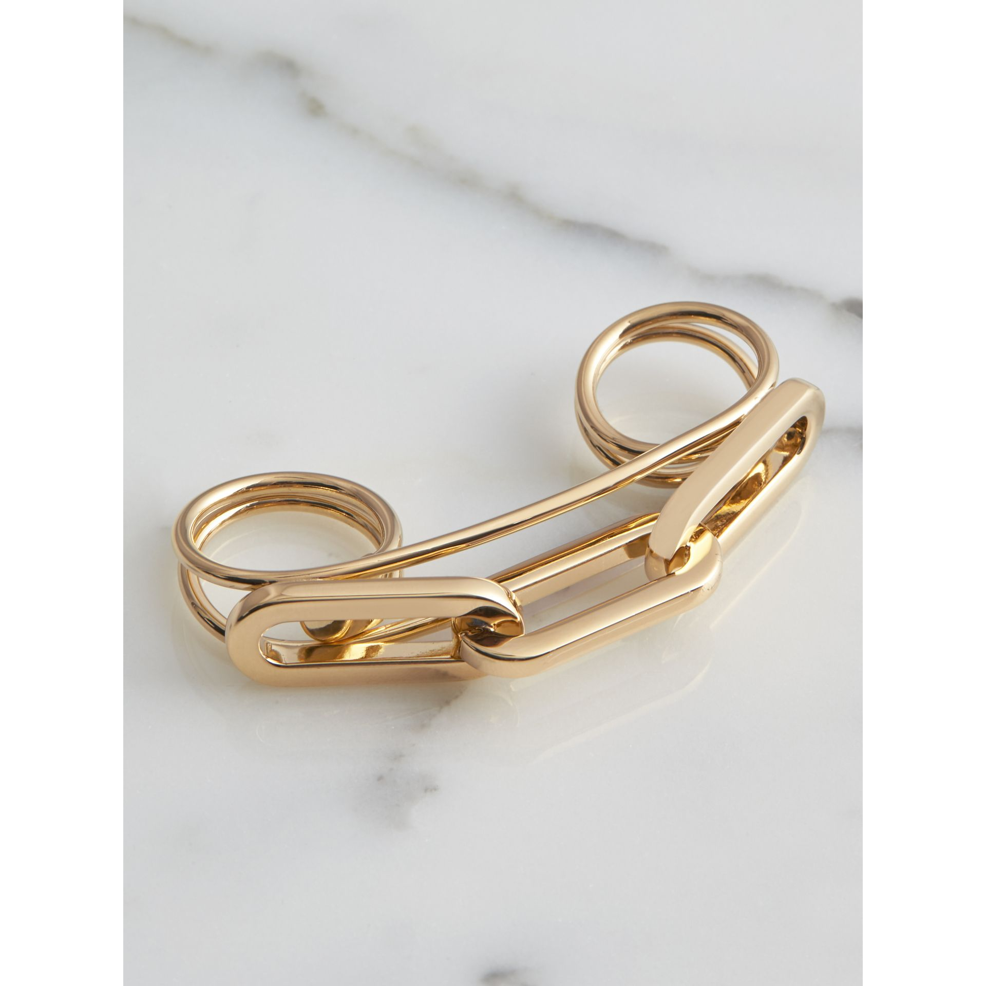 Gold-plated Link Double Ring in Light - Women | Burberry - gallery image 3