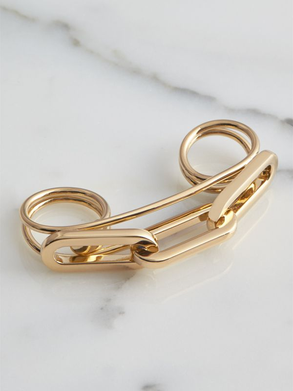 Gold-plated Link Double Ring in Light - Women | Burberry - cell image 3