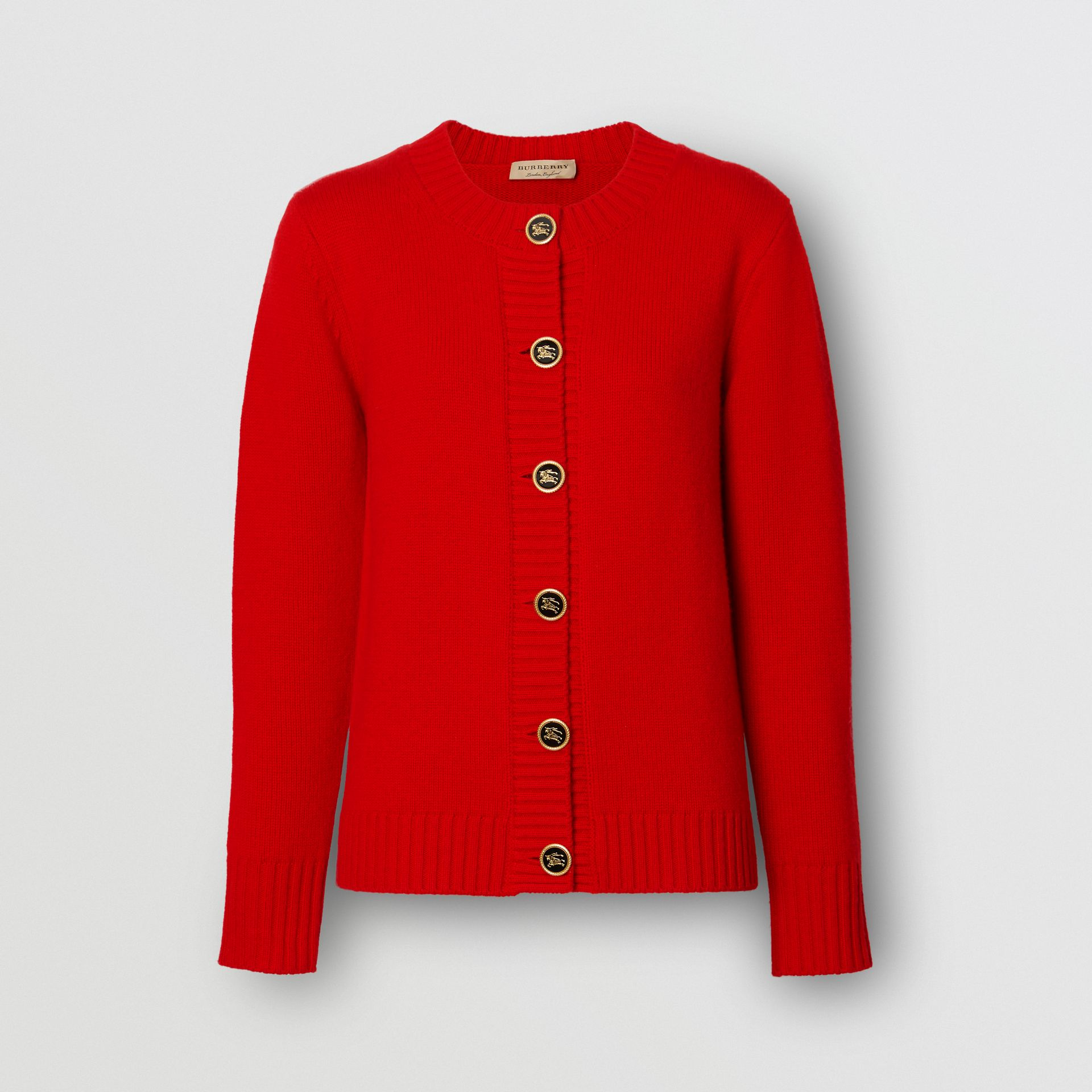 Logo Button Cashmere Crew Neck Cardigan in Bright Red - Women | Burberry Australia - gallery image 3