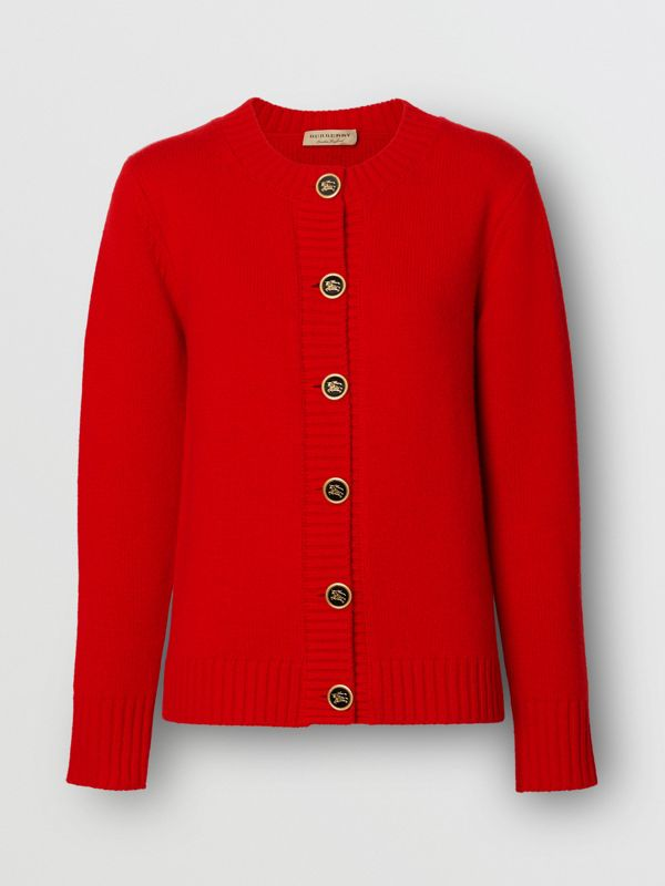 Logo Button Cashmere Crew Neck Cardigan in Bright Red - Women | Burberry Australia - cell image 3