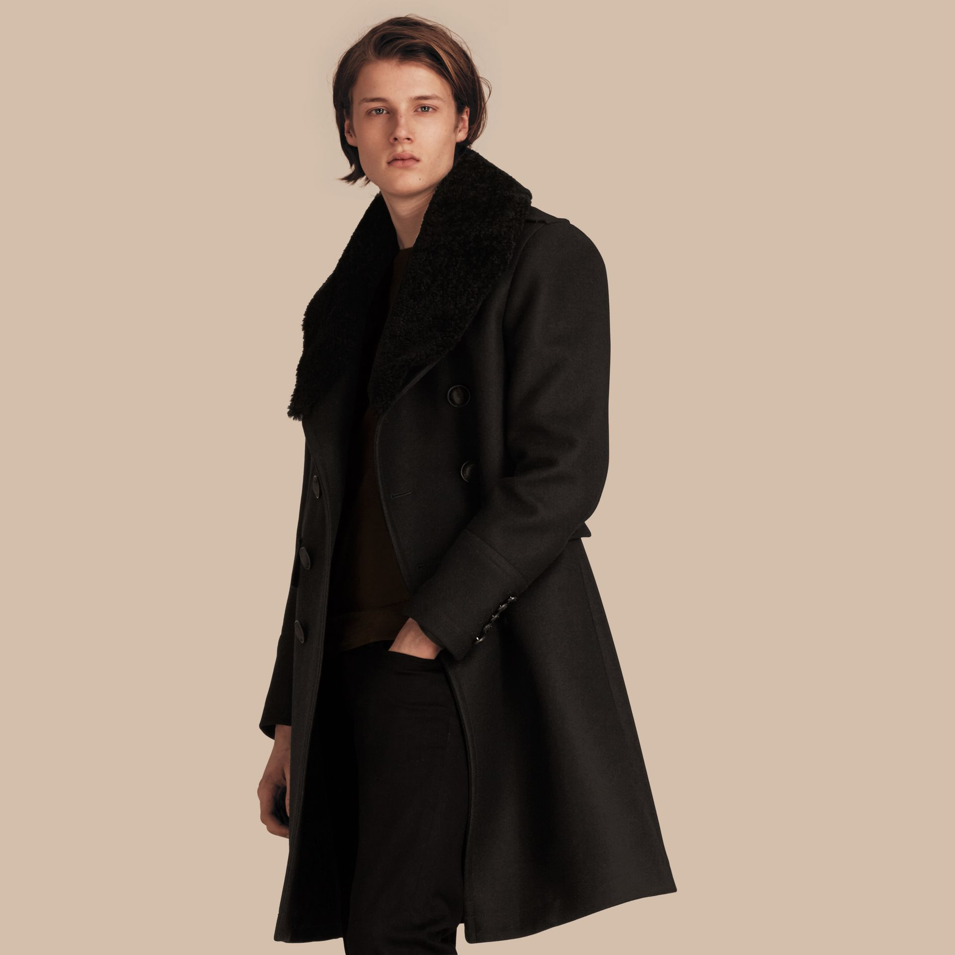 Black Technical Wool Greatcoat with Detachable Shearling Collar - gallery image 1