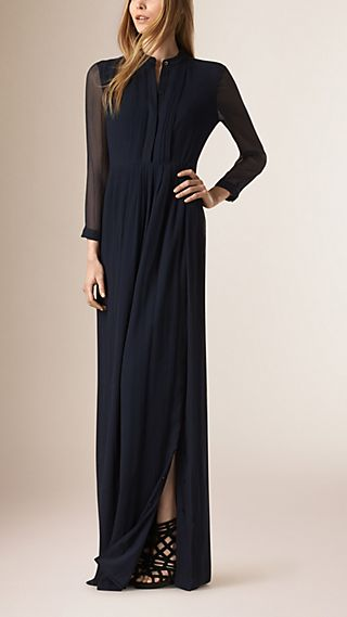 Pleat Detail Floor-length Silk Dress
