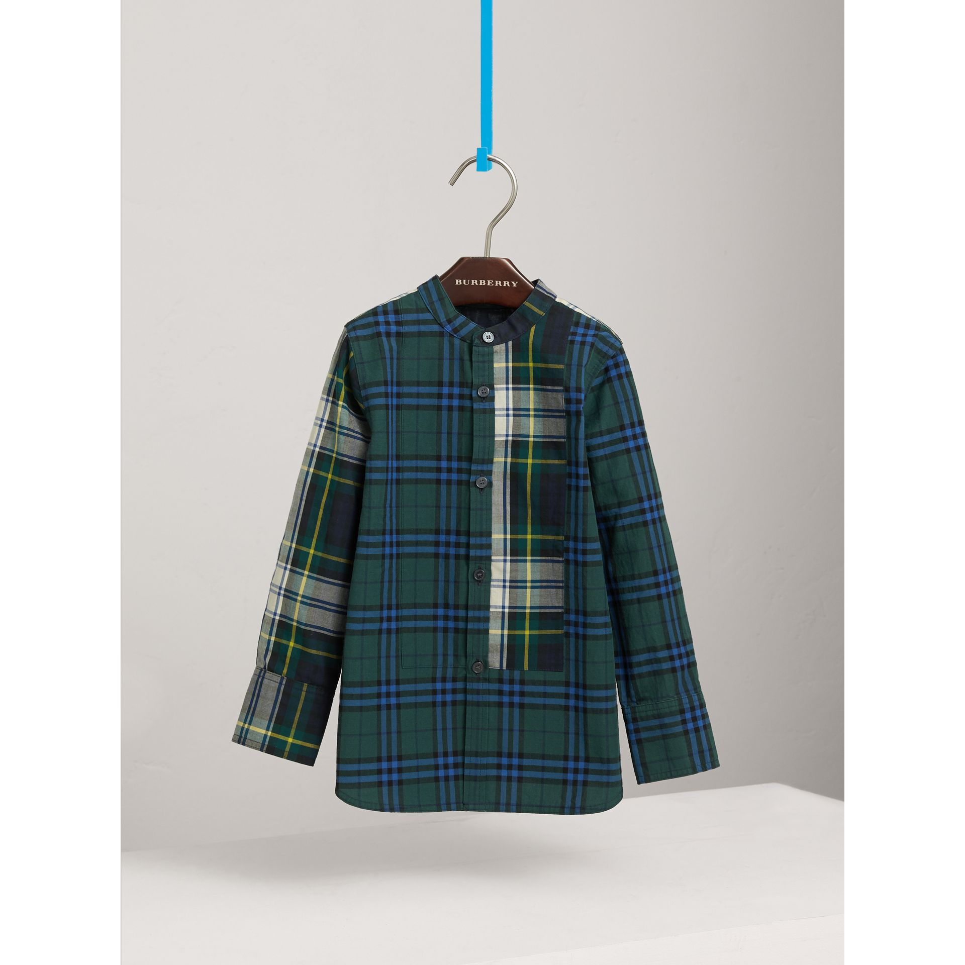 Panelled Tartan and Check Cotton Poplin Shirt in Forest Green - Boy | Burberry - gallery image 3