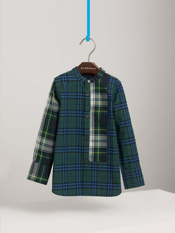 Panelled Tartan and Check Cotton Poplin Shirt in Forest Green - Boy | Burberry - cell image 2
