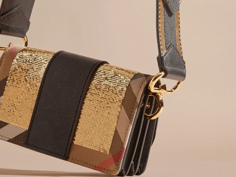 Gold/black The Small Buckle Bag in Sequins and House Check - cell image 4