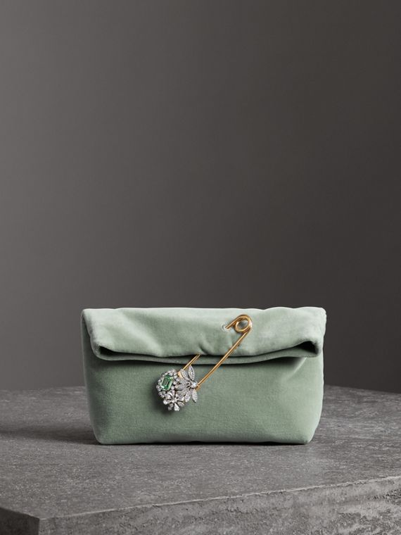 Petit clutch The Pin en velours (Gris Bleu)