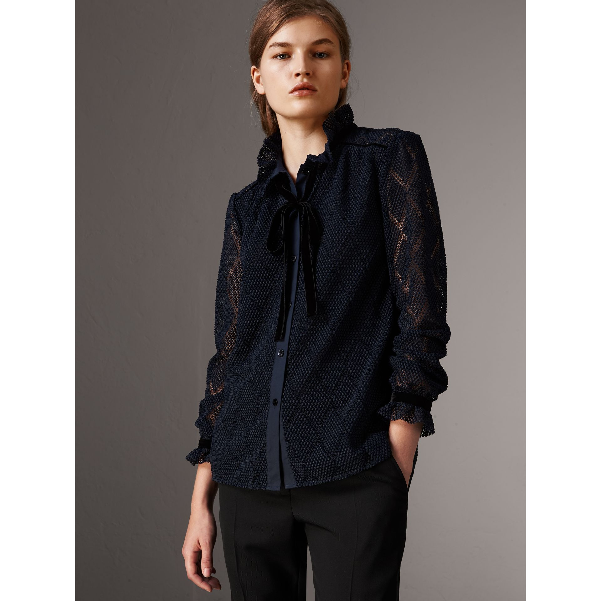 Geometric Lace Tie-neck Shirt in Navy - Women | Burberry United Kingdom - gallery image 1