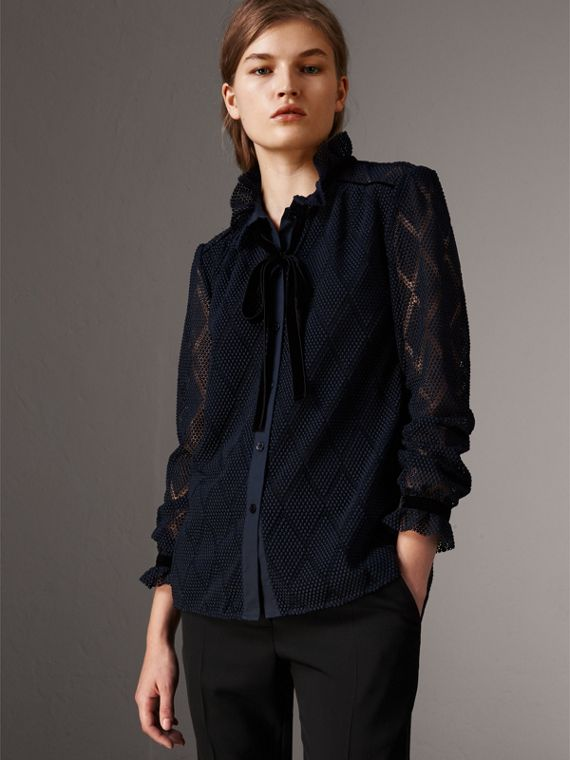 Geometric Lace Tie-neck Shirt in Navy