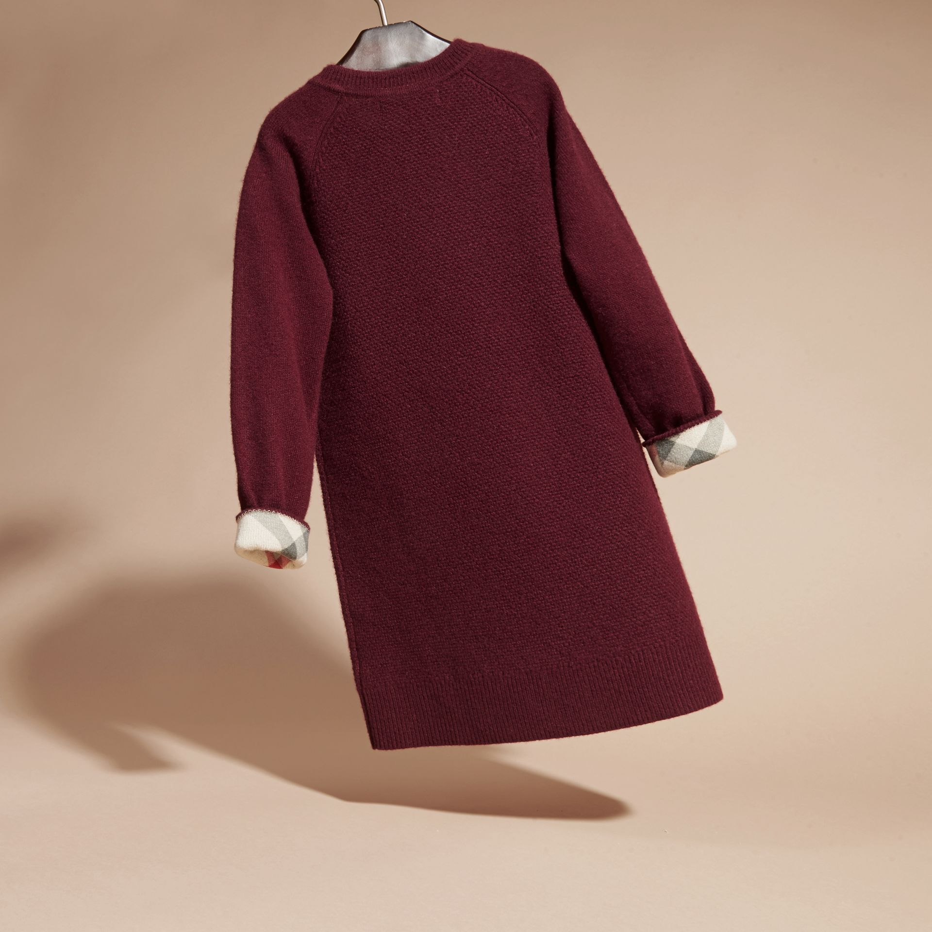 Check Detail Cashmere Dress in Mahogany Red - gallery image 4