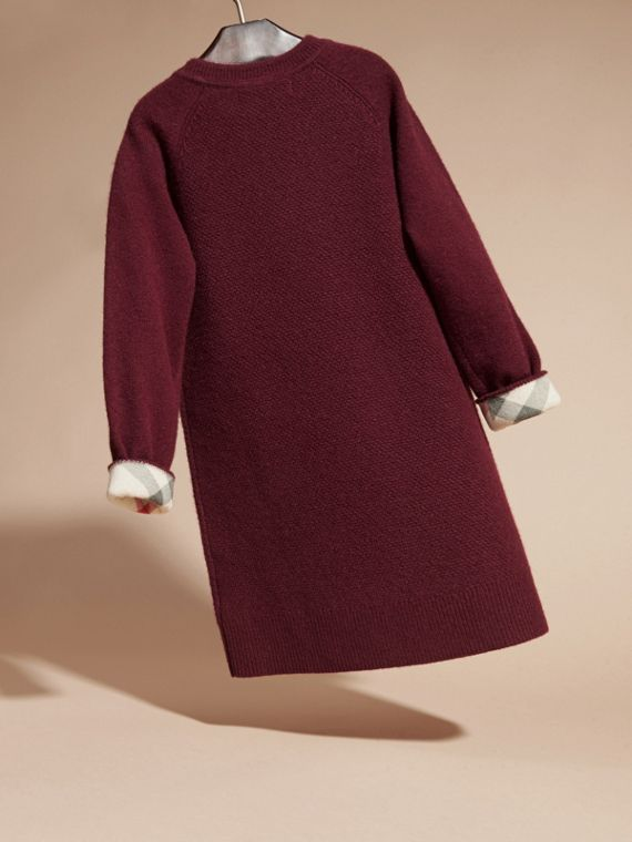 Check Detail Cashmere Dress in Mahogany Red - cell image 3