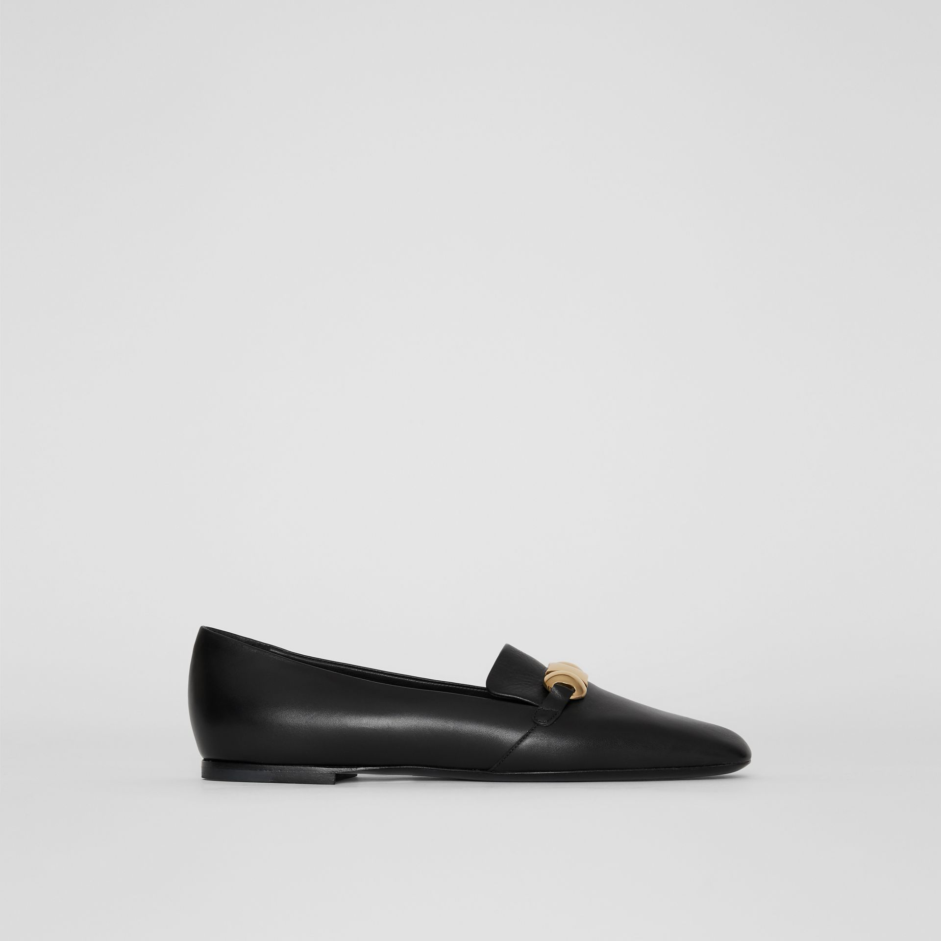 Studded Bar Detail Leather Loafers in Black - Women | Burberry - gallery image 0