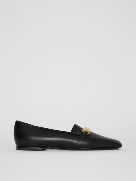 Studded Bar Detail Leather Loafers in Black