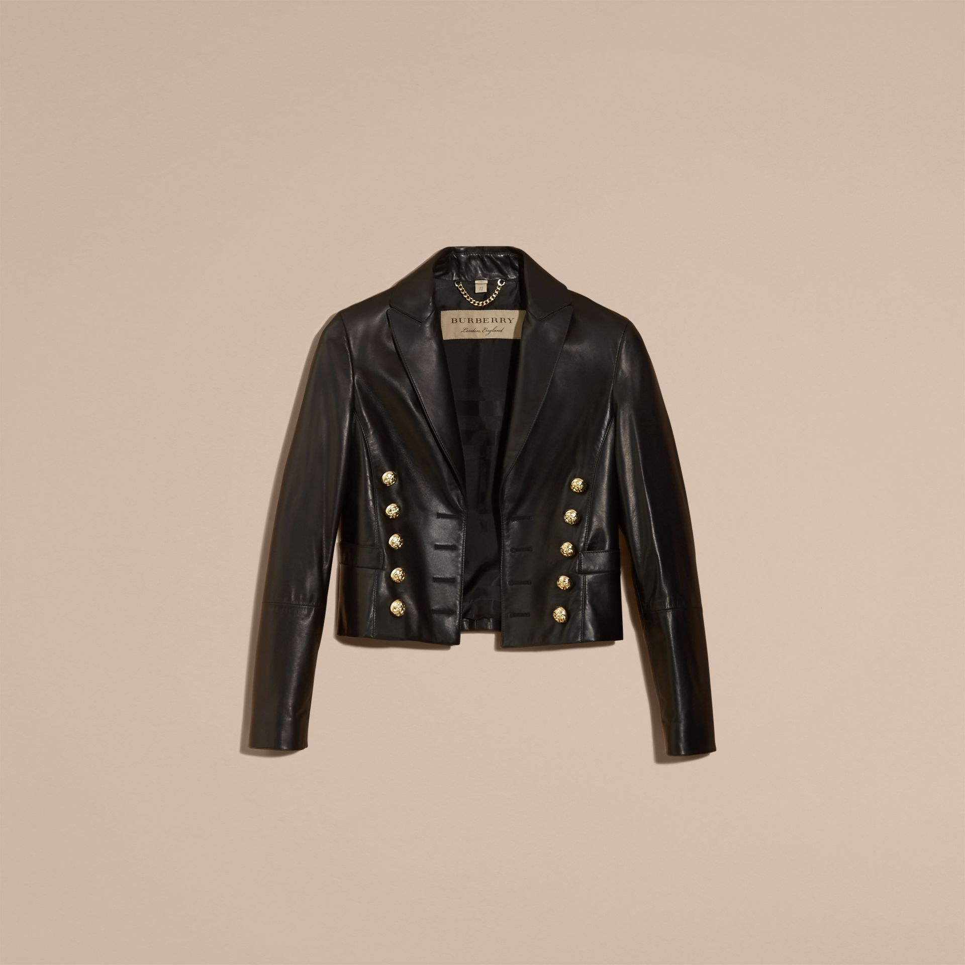 Black Cropped Lambskin Military Jacket - 갤러리 이미지 4