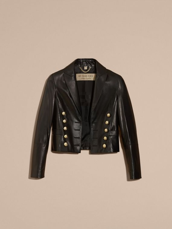 Black Cropped Lambskin Military Jacket - cell image 3