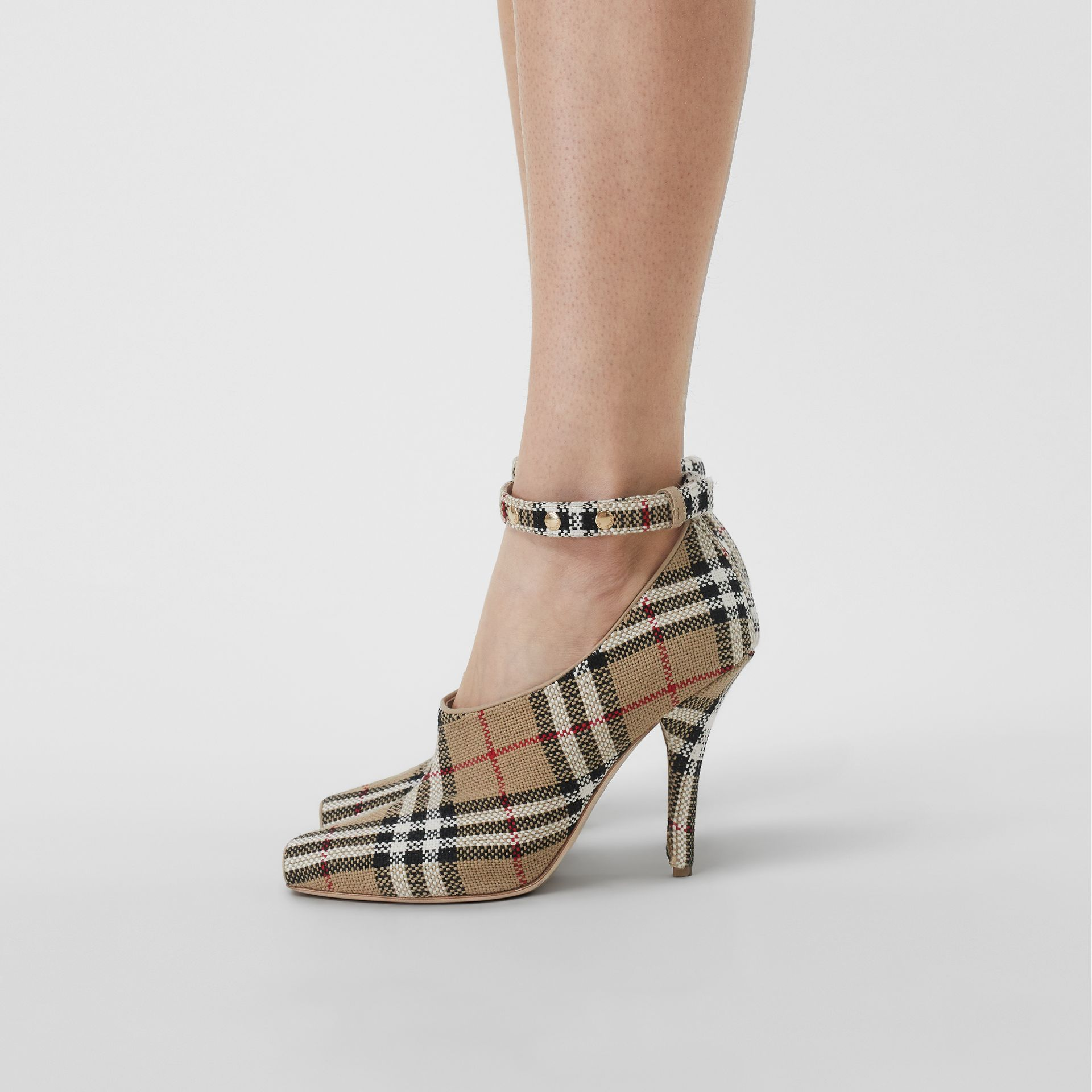 Vintage Check Peep-toe Pumps in Archive Beige - Women | Burberry - gallery image 2