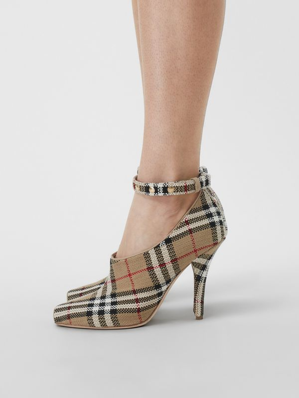 Vintage Check Peep-toe Pumps in Archive Beige - Women | Burberry Canada - cell image 2