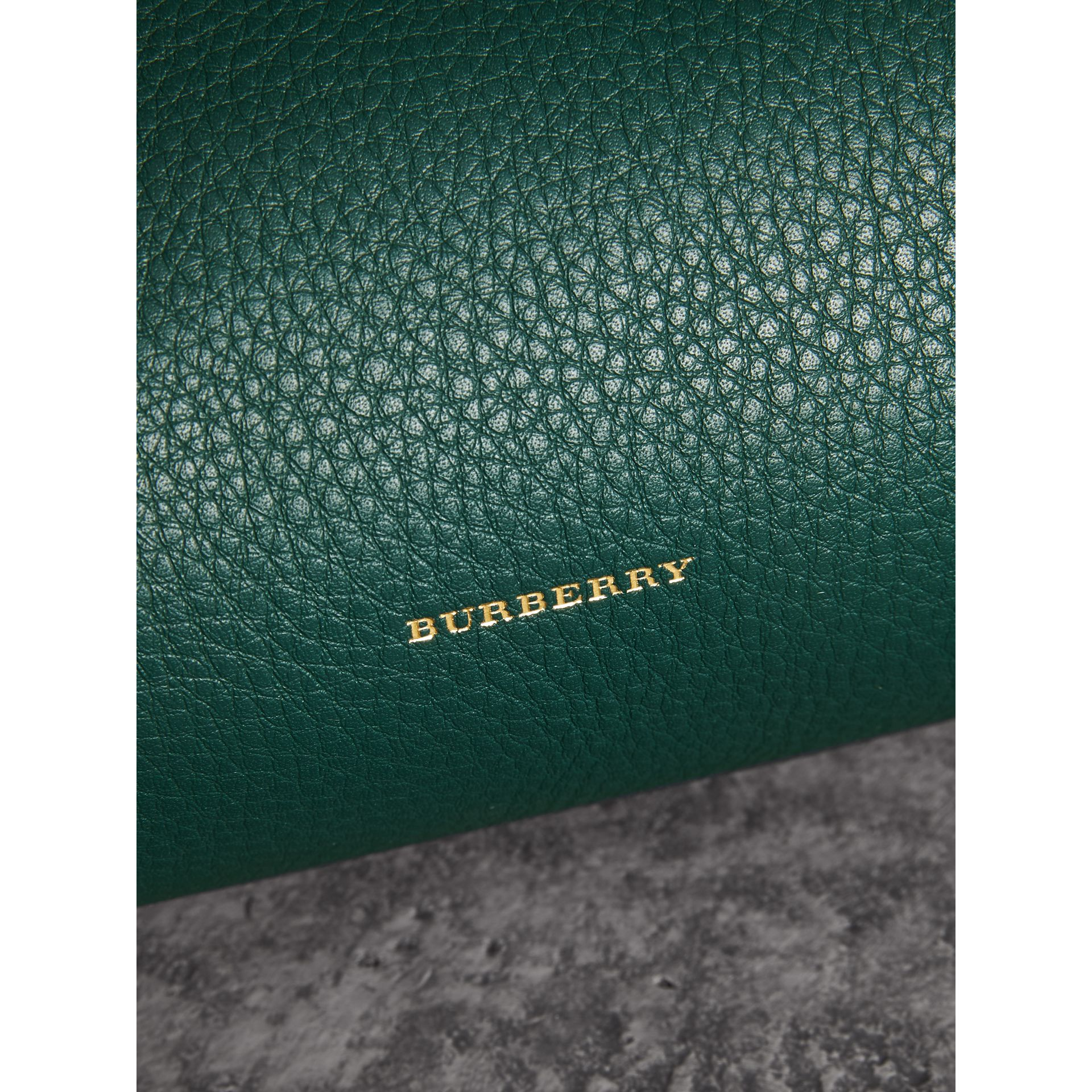 The Leather Barrel Bag in Dark Cyan - Women | Burberry - gallery image 1