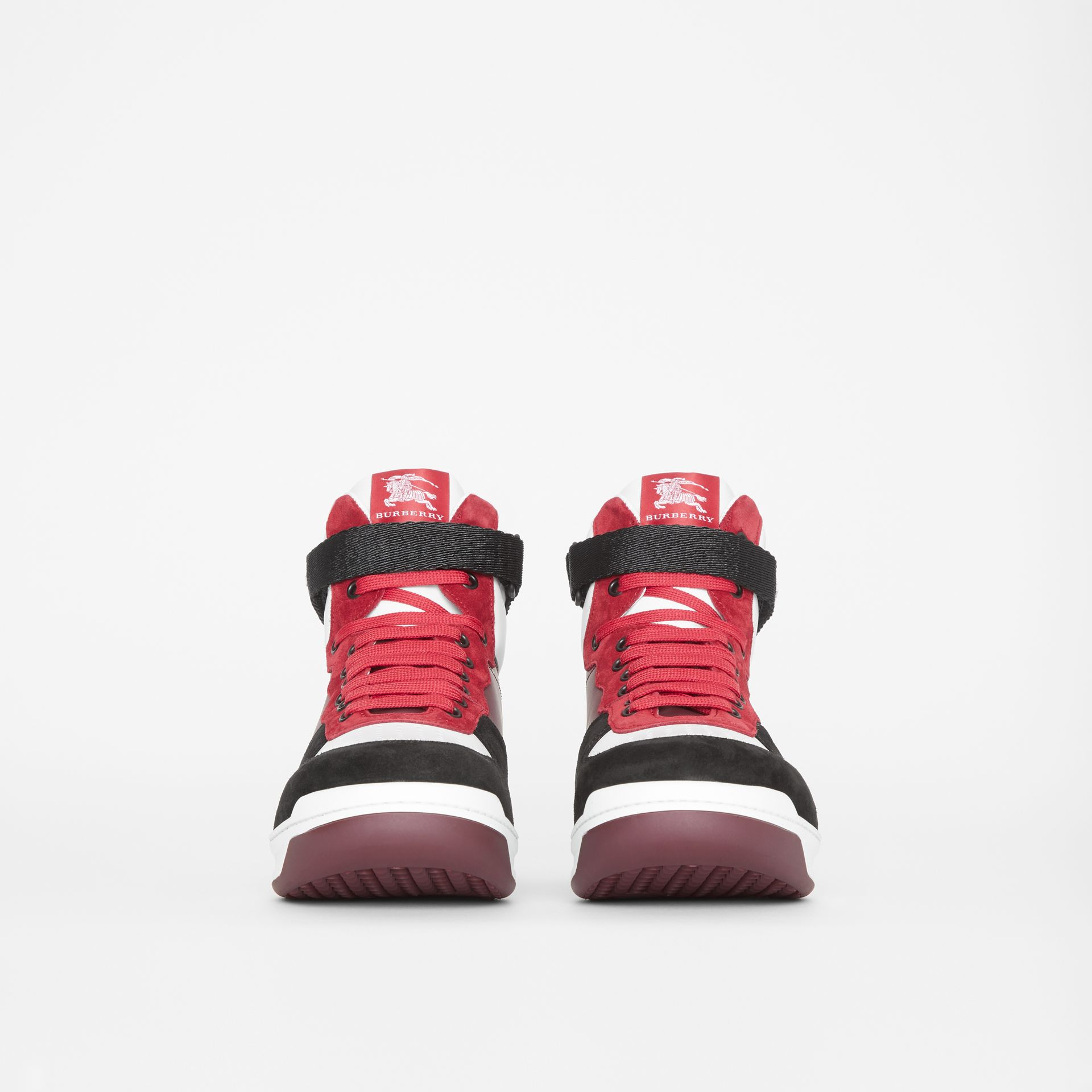 Leather and Suede High-top Sneakers in Burgundy Red - Men | Burberry - gallery image 3