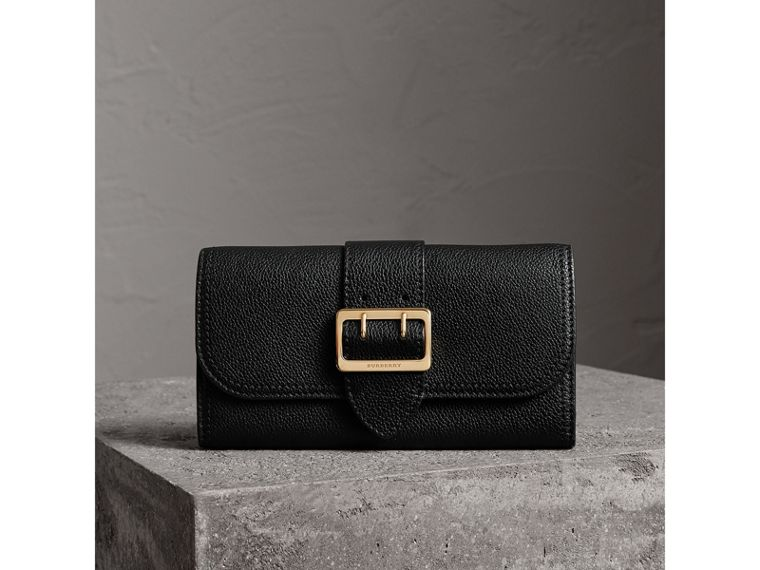 Textured Leather Continental Wallet in Black - Women | Burberry United Kingdom - cell image 1