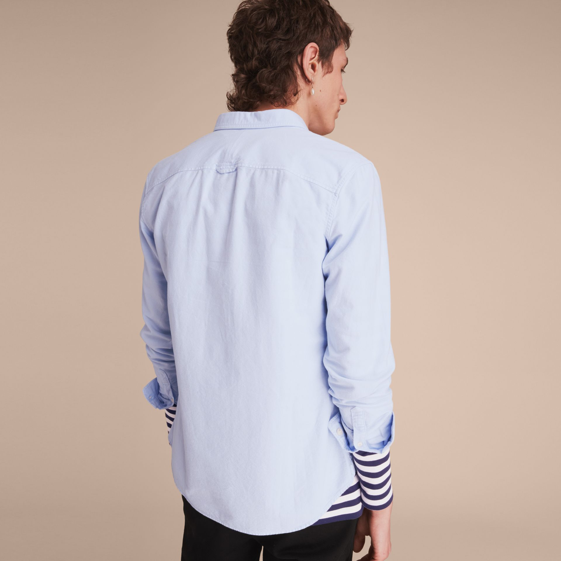 Cotton Oxford Shirt in Pale Blue - gallery image 3