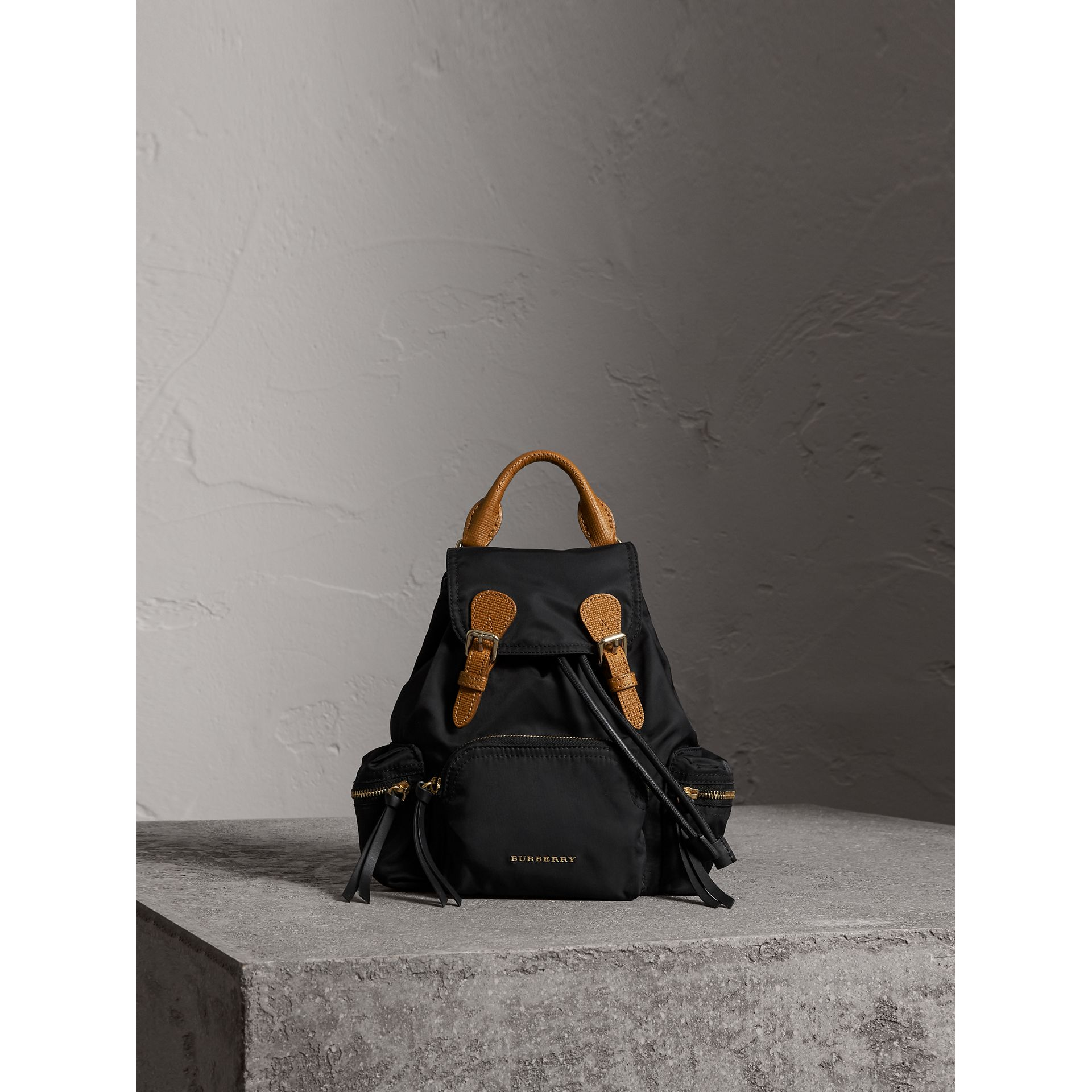 The Small Rucksack in Technical Nylon and Leather in Black - Women | Burberry Hong Kong - gallery image 1
