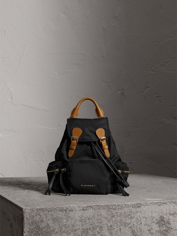 The Small Rucksack in Technical Nylon and Leather in Black
