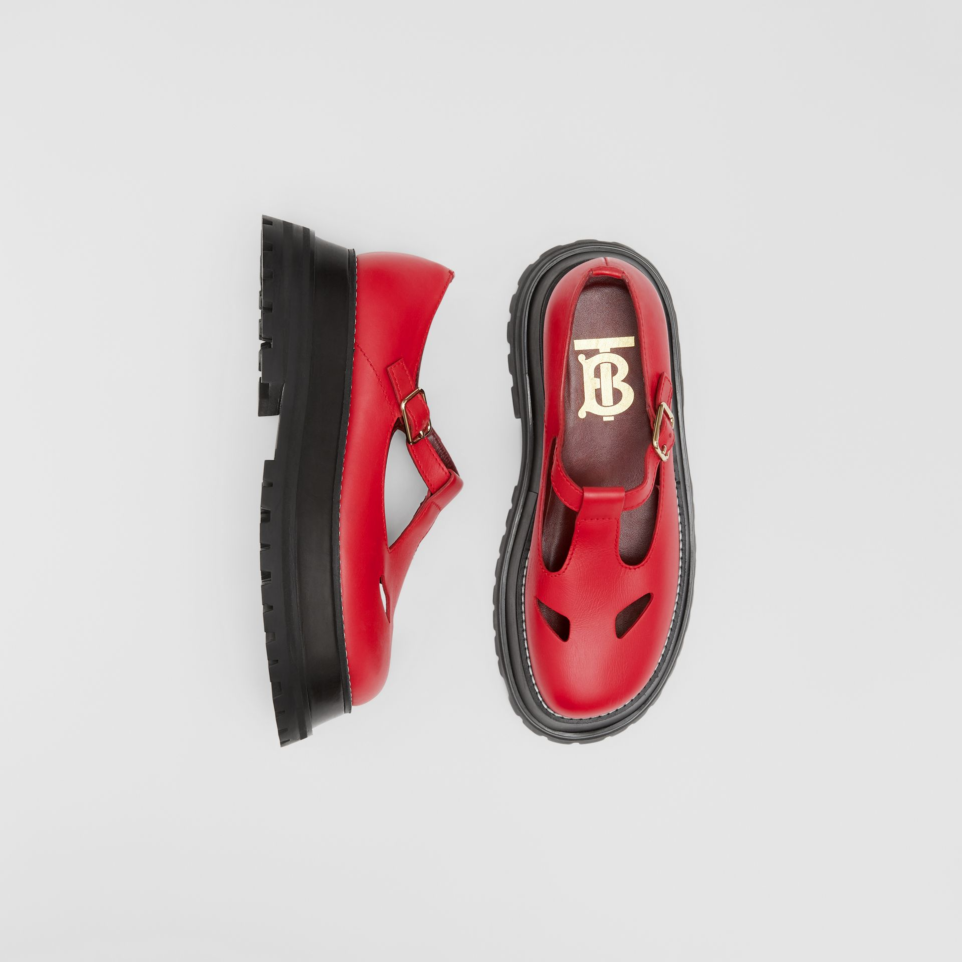 Leather T-bar Shoes in Red - Women | Burberry United Kingdom - gallery image 0