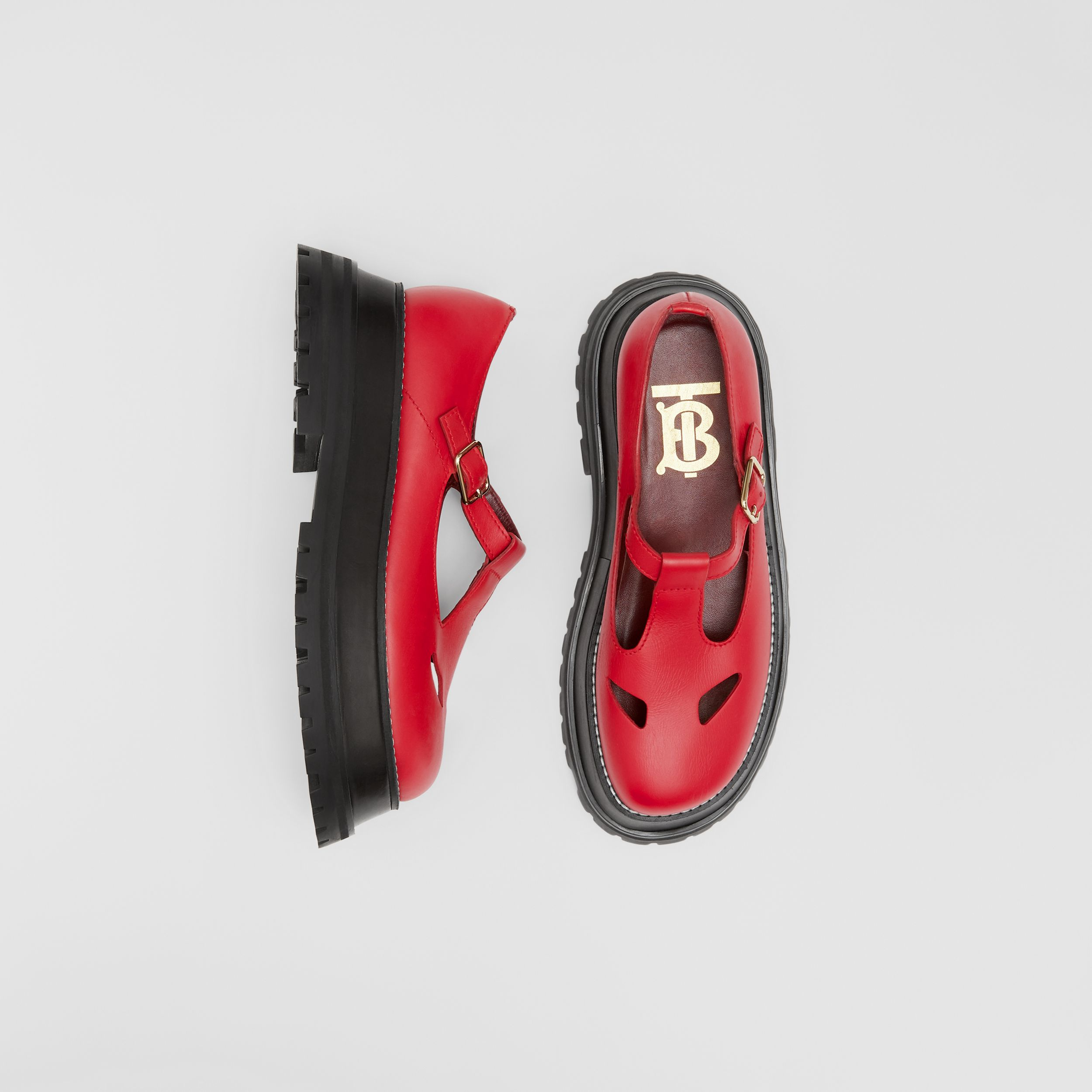 Leather T-bar Shoes in Red - Women | Burberry - 1