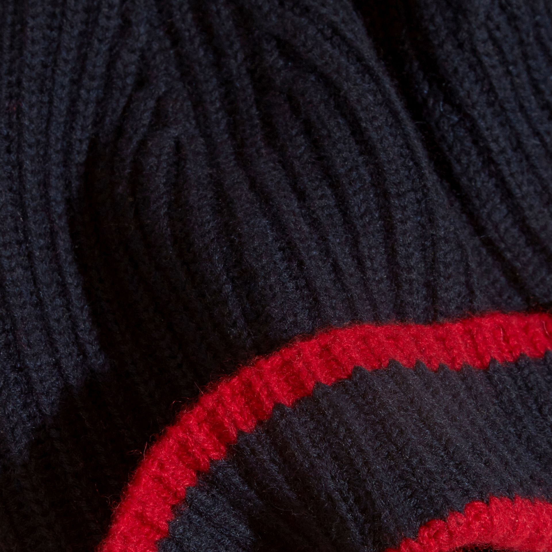 Navy/parade red Ribbed Cashmere Tipped Beanie - gallery image 2