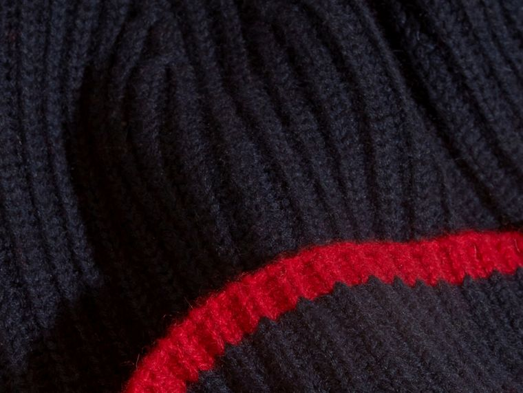 Navy/parade red Ribbed Cashmere Tipped Beanie - cell image 1