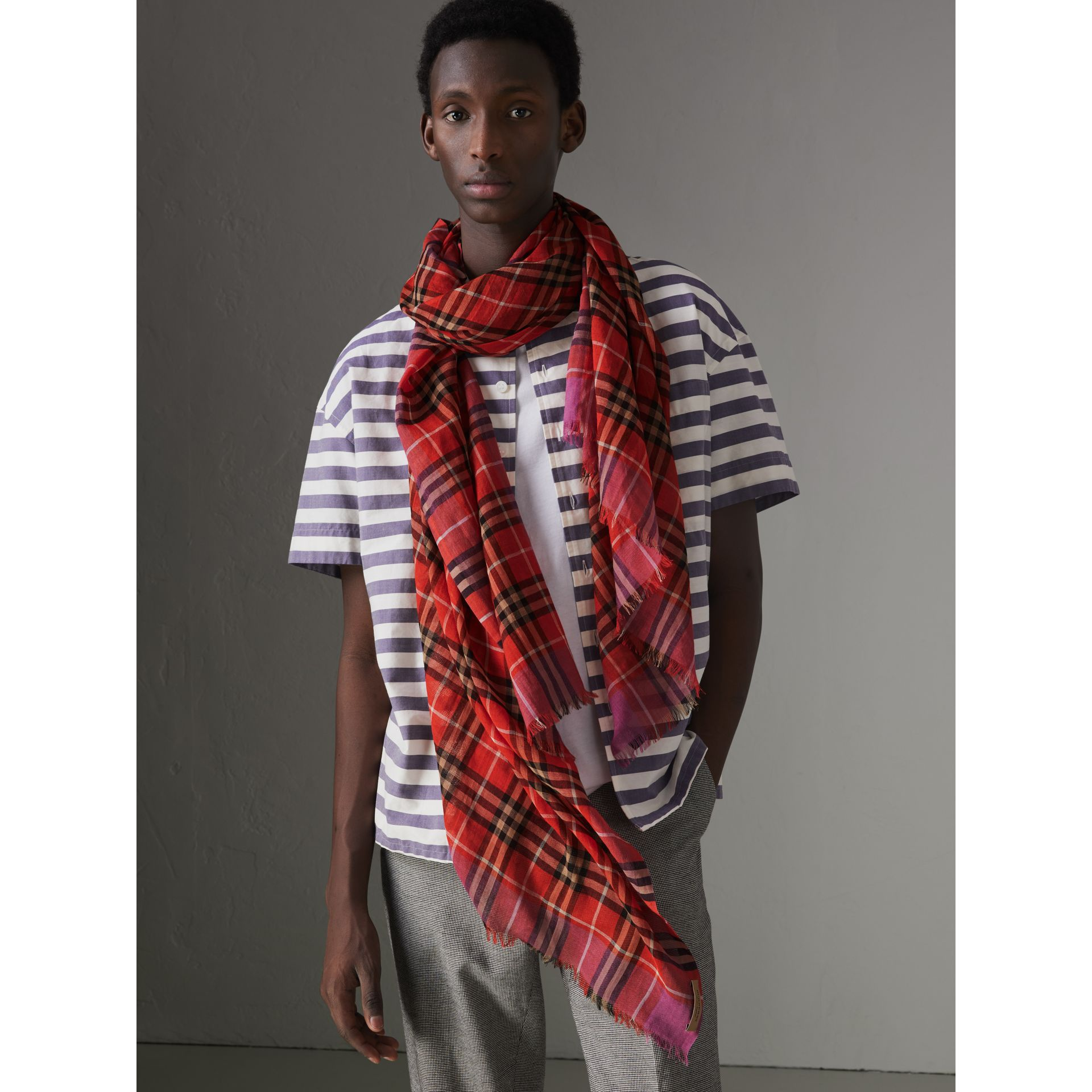 Check Wool Silk Scarf in Bright Orange Red | Burberry United States - gallery image 5
