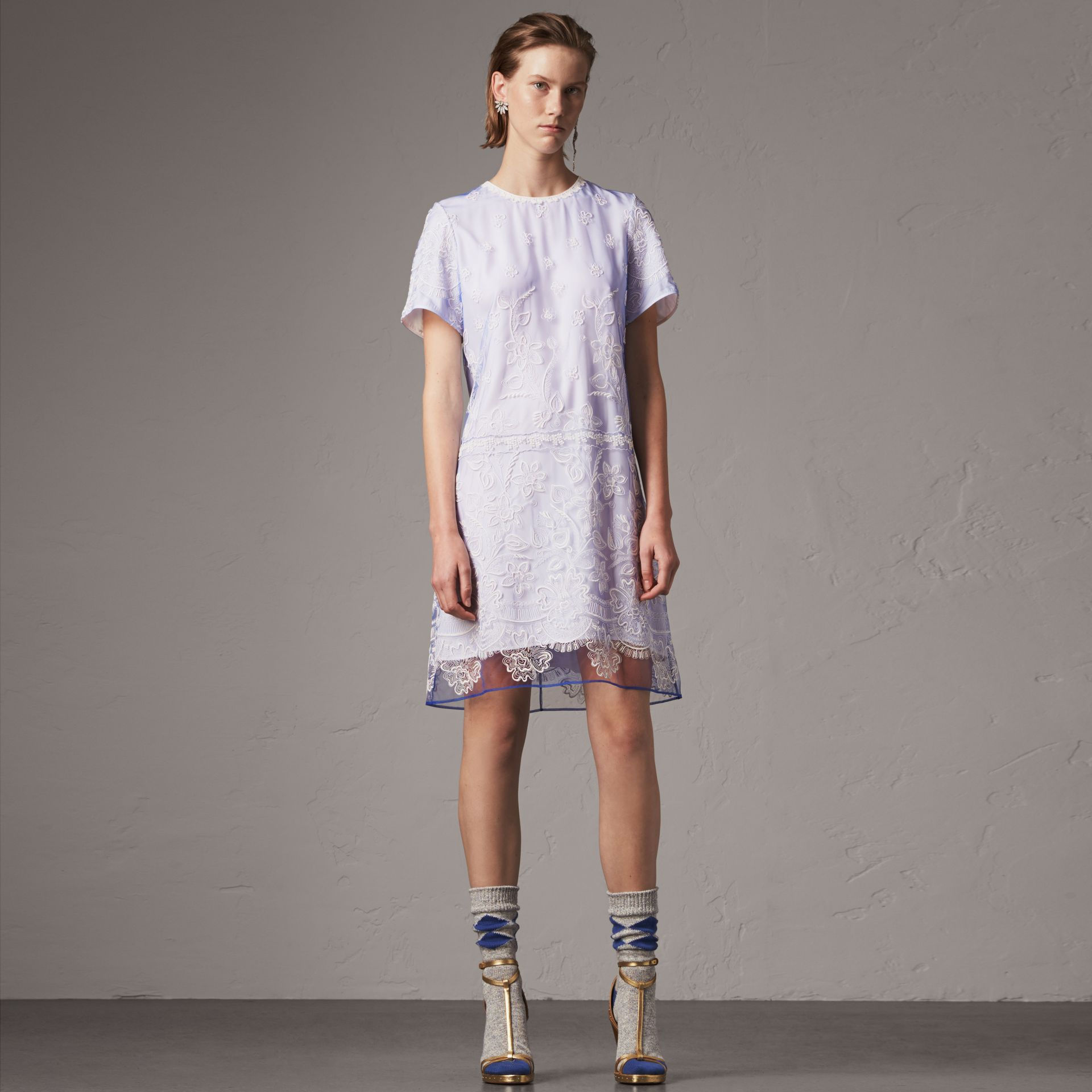 Floral-embroidered Tulle T-shirt Dress in Hydrangea Blue/white - Women | Burberry - gallery image 0