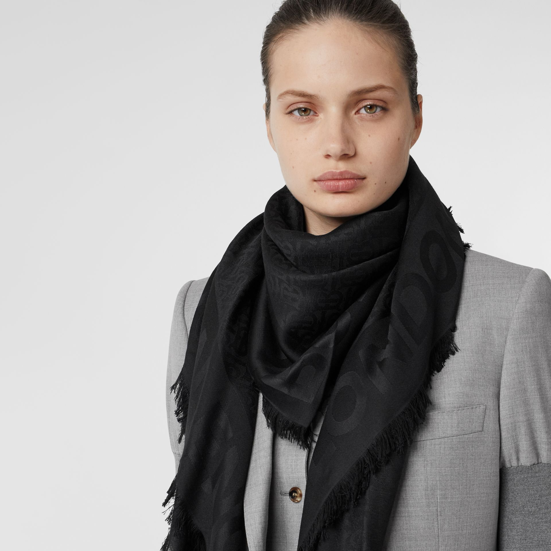 Monogram Silk Wool Jacquard Large Square Scarf in Black | Burberry United Kingdom - gallery image 2