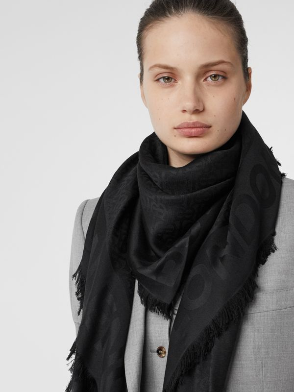 Monogram Silk Wool Jacquard Large Square Scarf in Black | Burberry - cell image 2