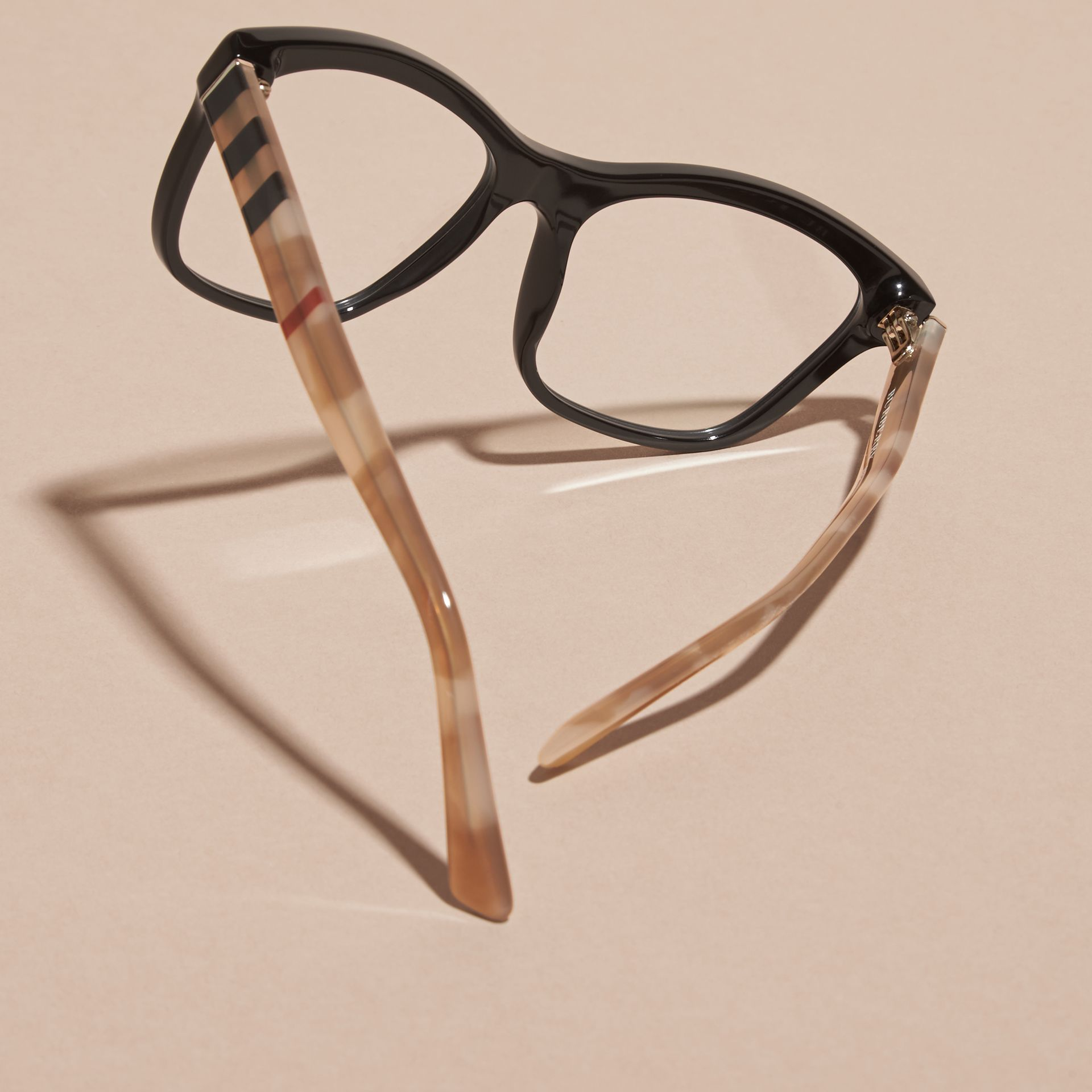 Black Check Detail Square Optical Frames Black - gallery image 3