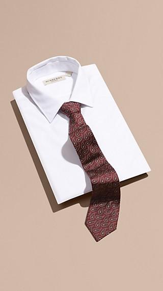 Modern Cut Paisley Print Silk Tie