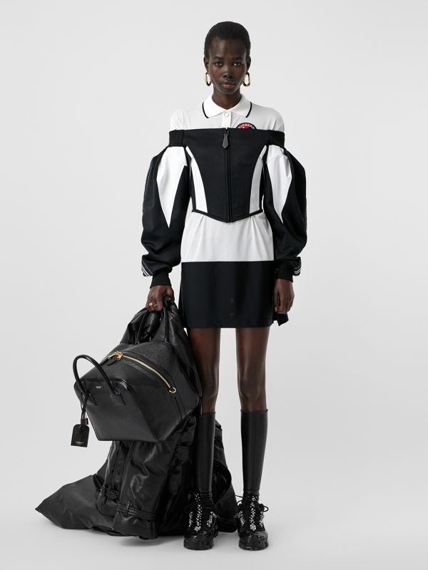 Logo Graphic Striped Mesh Polo Shirt Dress in Black - Women | Burberry - cell image 3
