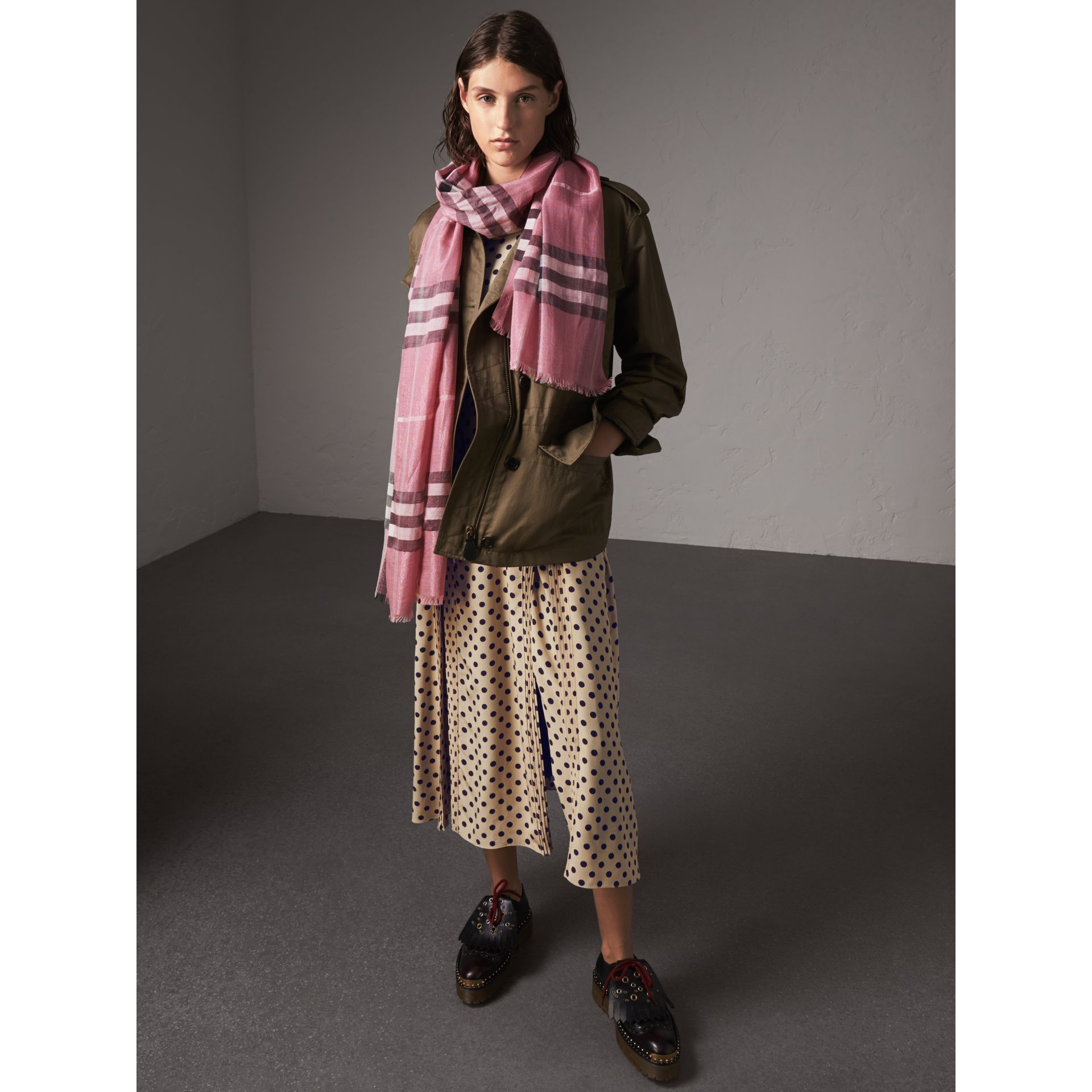 Metallic Check Silk and Wool Scarf in Bright Pink - Women | Burberry United Kingdom - gallery image 2