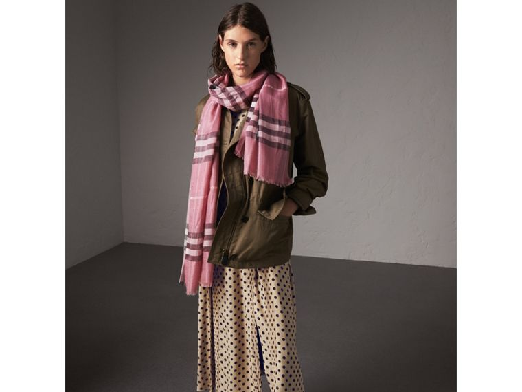 Metallic Check Silk and Wool Scarf in Bright Pink - Women | Burberry United Kingdom - cell image 2